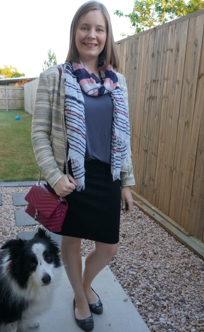 striped scarf and jacquard jacket with grey tee and black pencil skirt print mix business casual | away from blue