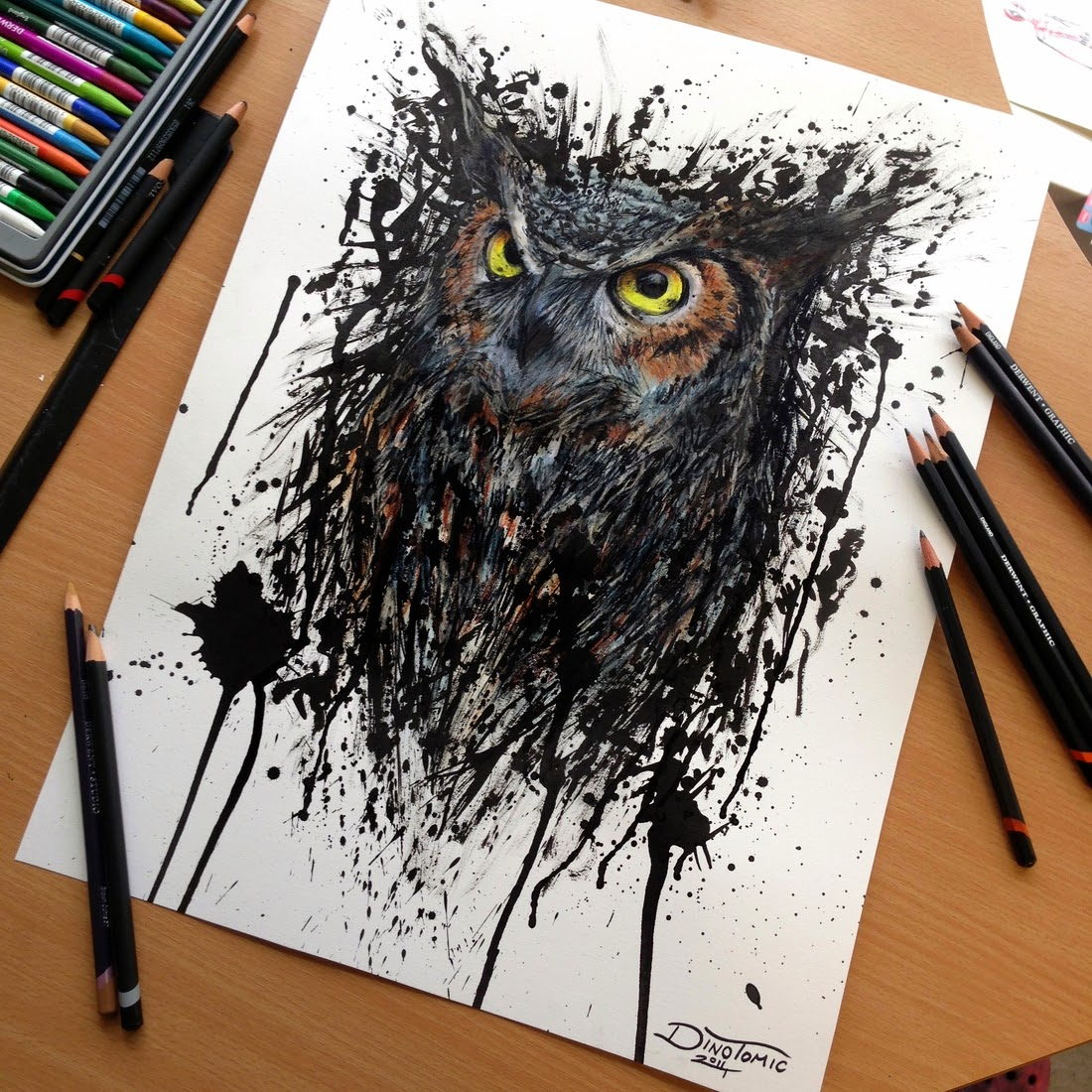 09-Owl-Splatter-Dino-Tomic-AtomiccircuS-Mastering-Art-in-Eclectic-Drawings-www-designstack-co