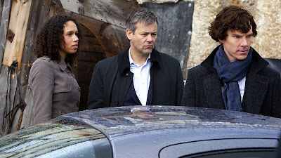 Benedict Cumberbatch, Rupert Graves and Vinette Robinson as Sherlock Holmes Lestrade and Sally Donovan in BBC Sherlock Season 1 The Great Game