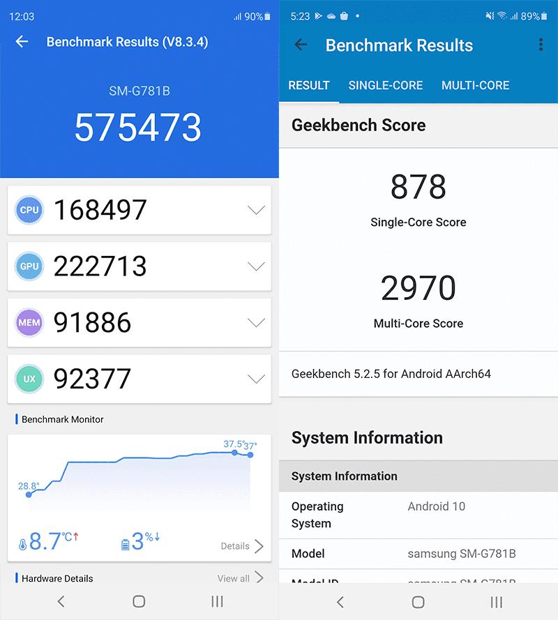 Samsung Galaxy S20 FE benchmark scores