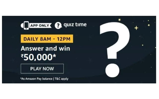 Amazon Quiz Answers - Today win Rs 50000 Pay Balance 23rd March 2020