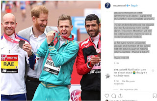 Today, The Duke of Sussex, Patron of The London Marathon Charitable Trust, attended the 2019 @LondonMarathon where he cheered on runners, thanked volunteers for their selfless support, and congratulated the winners.  The Duke has been Patron of the Trust since 2012 because he believes that mental fitness is absolutely crucial to our wellbeing.  These runners not only set a goal for themselves personally and emotionally, but the majority of runners choose to raise money for charity.  It's the perfect fusion of doing something good for yourself while doing good for others.  The joyful atmosphere created by locals, tourists, families and friends speaks to the spirit of what community is all about - supporting one another, even complete strangers.  The @LondonMarathon is the biggest one-day fundraising event on the planet. This year's Marathon will see the total raised for charity surpass a record-breaking £1 billion.  So for every runner, volunteer, sponsor and member of the public that has played a part in making today a success - thanks a billion!  Photo cred: PA