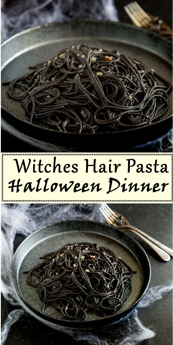 Witches Hair Pasta (Squid Ink Pasta) - A Great Halloween Dinner #halloweenrecipes