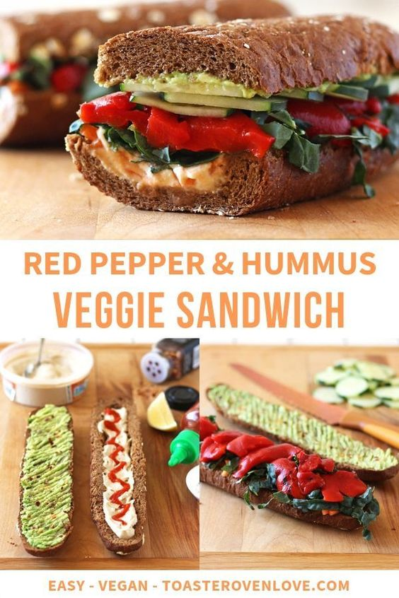 Roasted Red Pepper, Carrot and Hummus Sandwich. A toasted whole wheat baguette layered with hummus, avocado, roasted red peppers, matchstick carrots and generously topped with fresh veggies.
