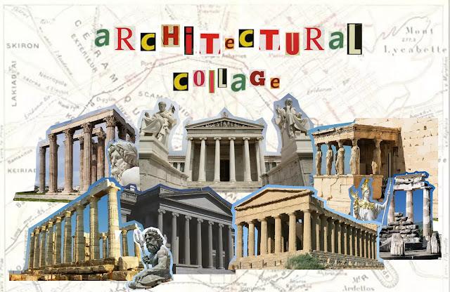 greek architectural collage