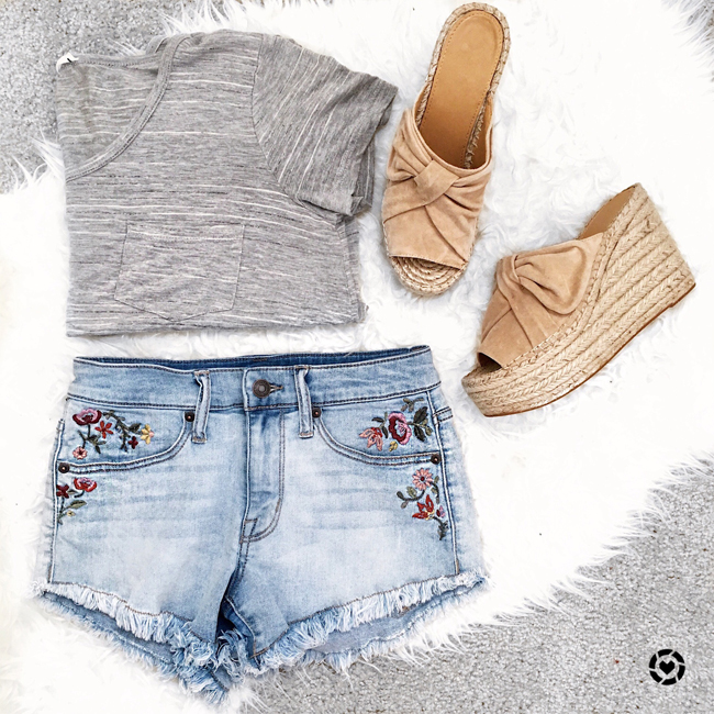 fashion, style, pardon muah, tan bow espadrille sandal, embroidered jean shorts