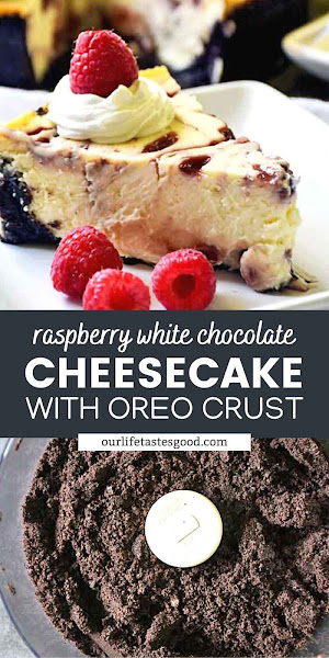 Pinterest image of raspberry white chocolate cheesecake