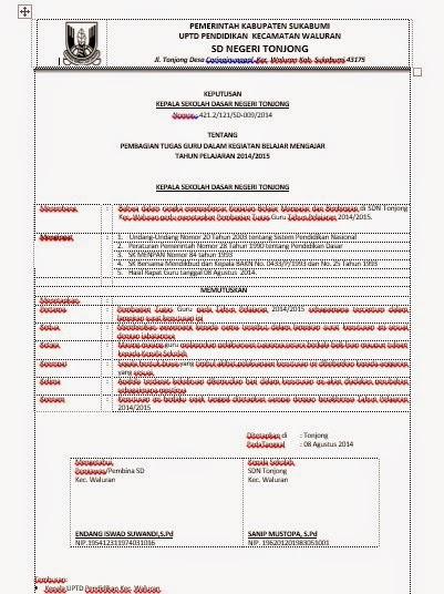 Surat Pembagian Tugas Mengajar ( SKBM)