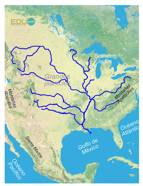 hidrografia, america del norte, norteamerica, rio, cuenca, AMERICA, misisipi