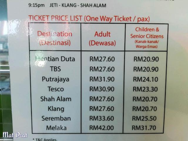 Jadual dan Tambang Bas Kuala Lumpur ke Jety Marina