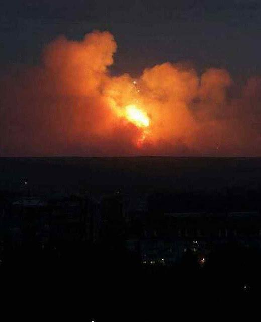 Flagrante da explosãona Rússia durante teste de míssil com combustível nuclear