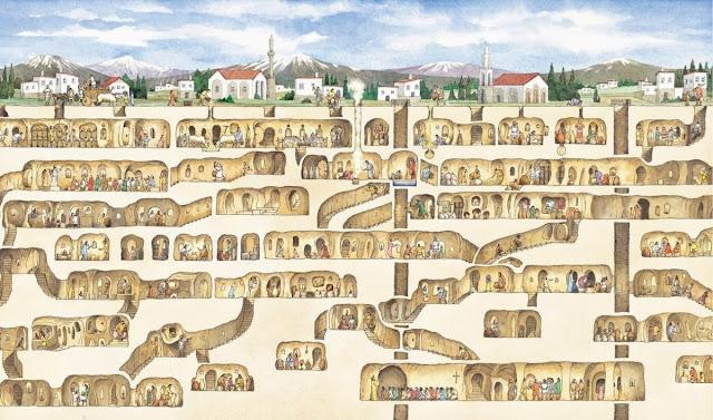 වසර 4,000 කට පෙර ඉදිකරන ලද විශ්මිත පුරාණ භූගත නගරය - තුර්කියේ ඩෙරින්කුයු භූගත නගරය (Derinkuyu In Turkey) - Your Choice Way