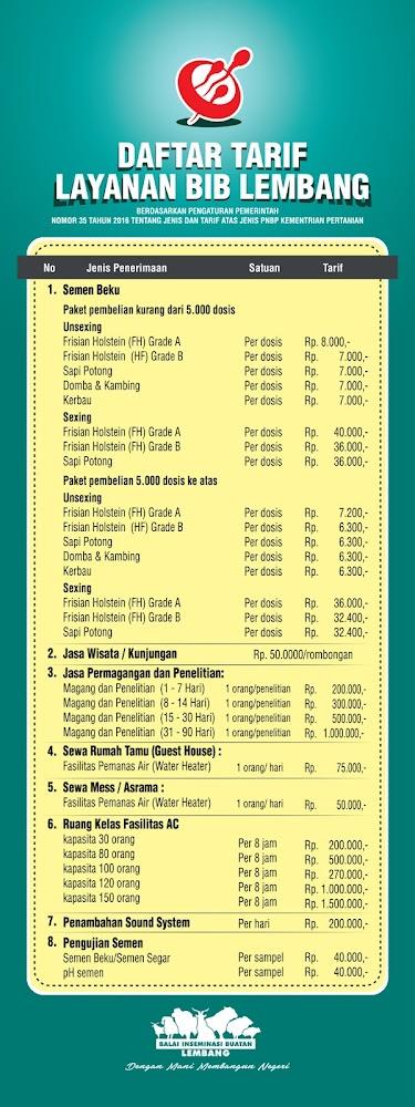 daftar harga semen beku dari BIB lembang