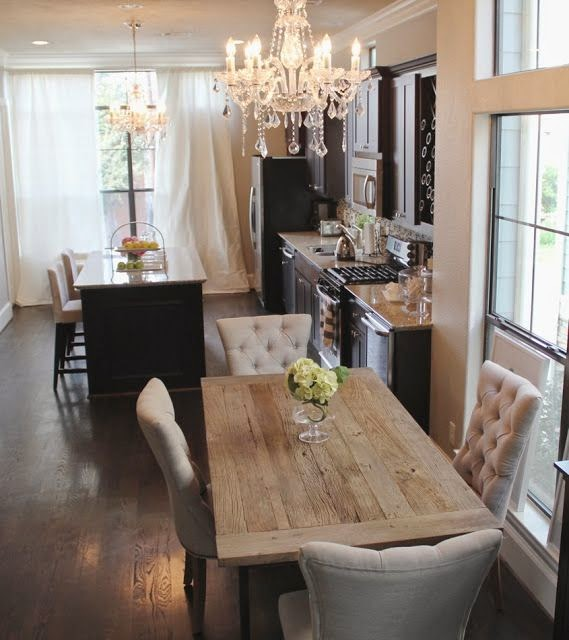 Rustic Dining Room Ideas: Dark Cabinets & Light Granite With A Rustic Glam Dining