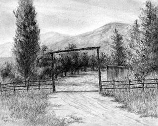 art drawing charcoal rural ranch Oakley Utah