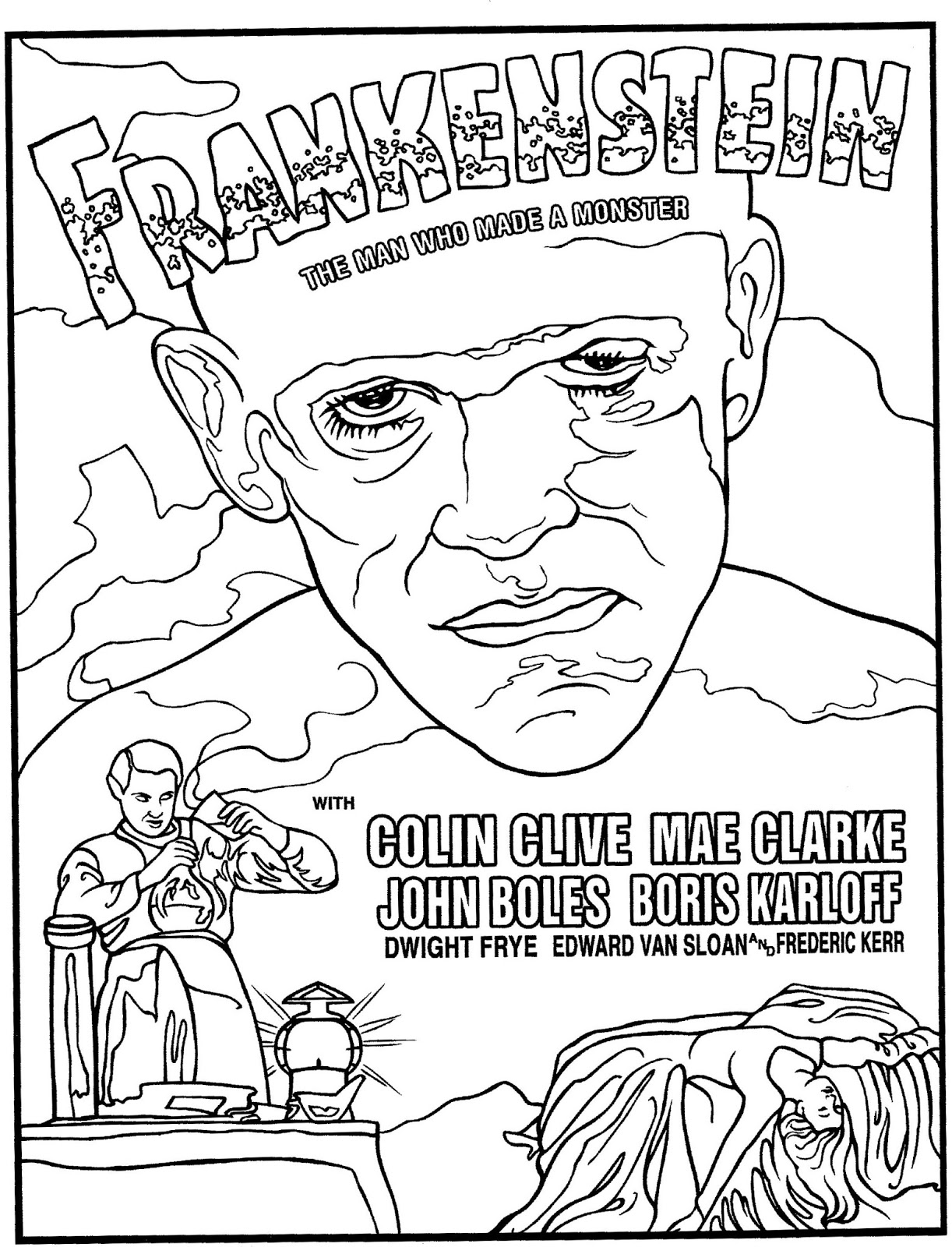 Mostly Paper Dolls Too!: FRANKENSTEIN Coloring Page