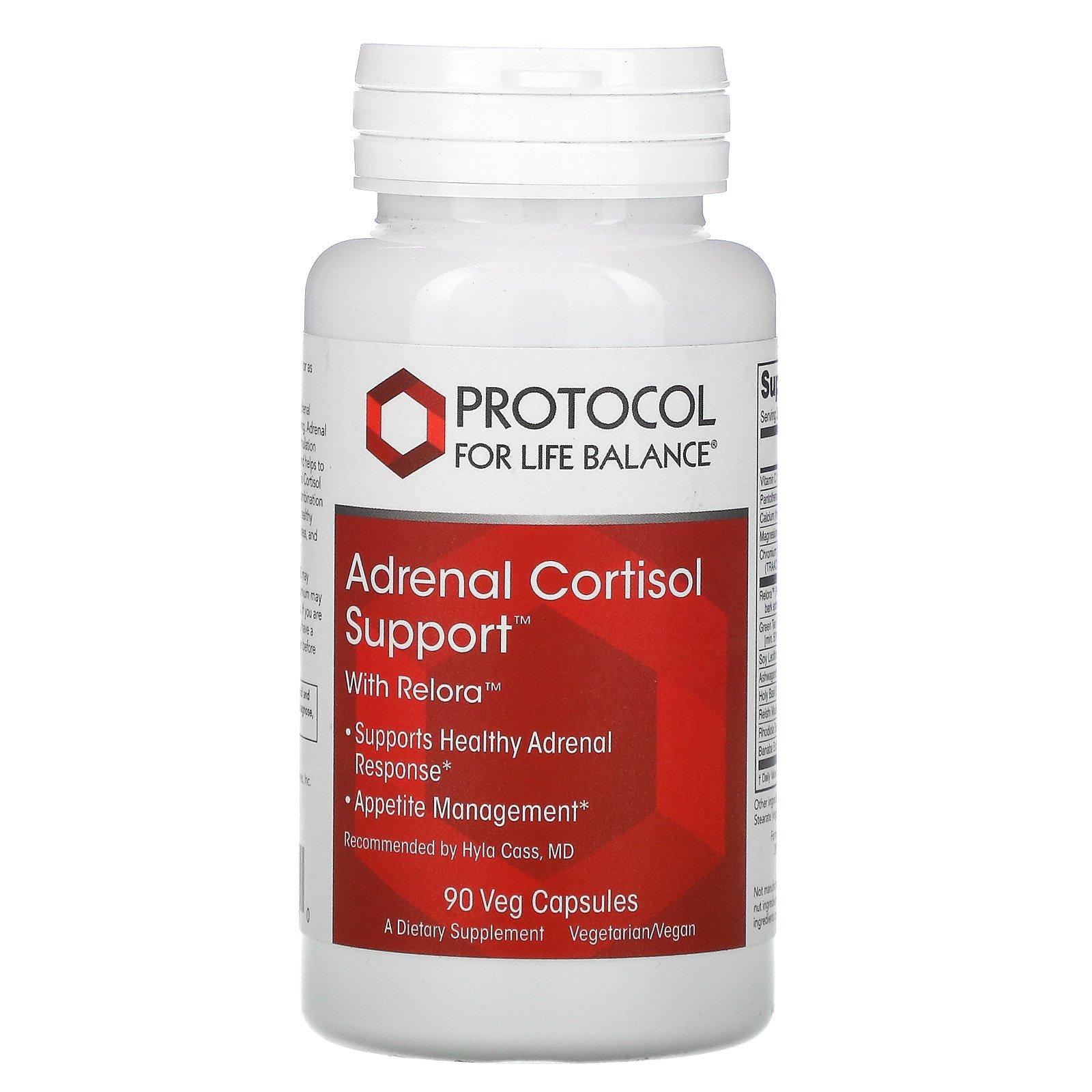 Protocol for Life Balance, Adrenal Cortisol Support с Relora, препарат для поддержки надпочечников, 90 растительных капсул