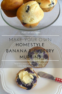 What's better than a piping hot muffin spilling with berries fresh from the oven, made with love? Homestyle Banana Blueberry Muffins - Slice of Southern