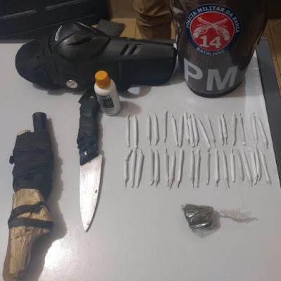 4ª Cia apreende droga e arma de fogo artesanal em Ubaíra