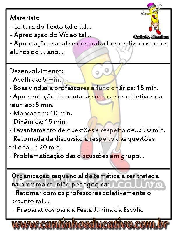 Super COMO ELABORAR UMA PAUTA DE REUNIÃO PEDAGÓGICA - CANTINHO EDUCATIVO SH52