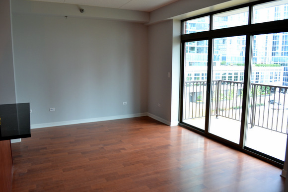 Our new empty living room in the Chicago condo