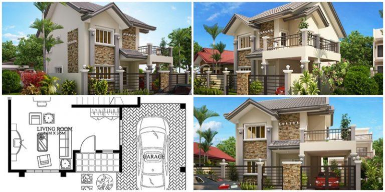 Plano de una casa moderna de dos pisos