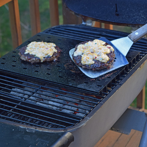 Pimento cheeseburgers on the PK Grill