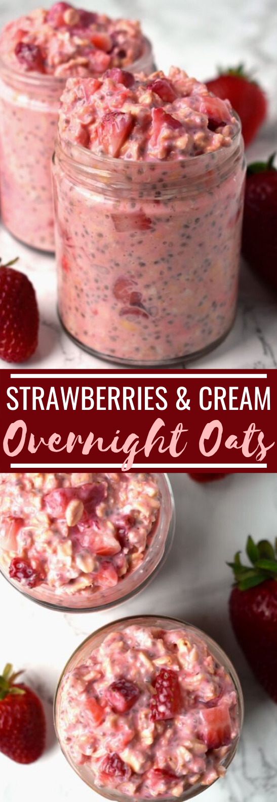 Strawberries and Cream Overnight Oats #healthy #breakfast #oats #pudding #quick