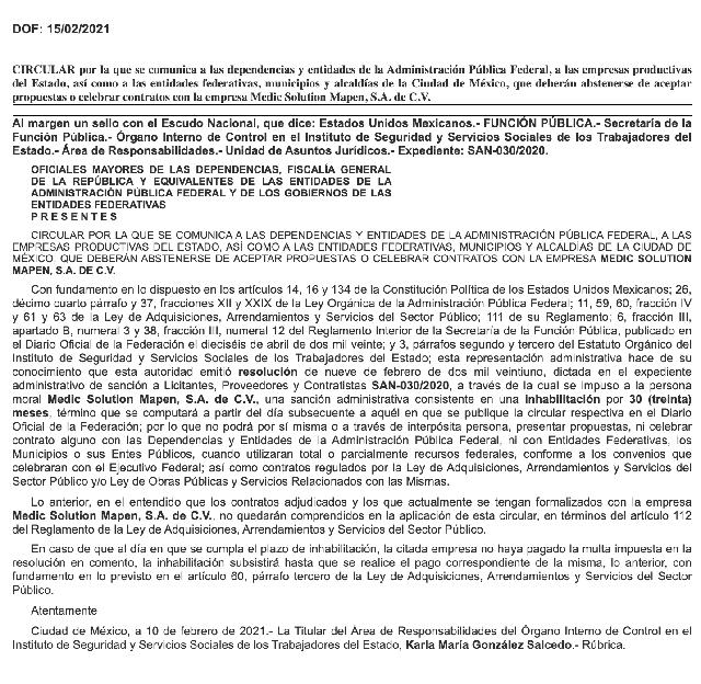 SPF inhabilita 30 meses y multa por 1.3 MDP a Medic Solution Mapen por dar información falsa al ISSSTE