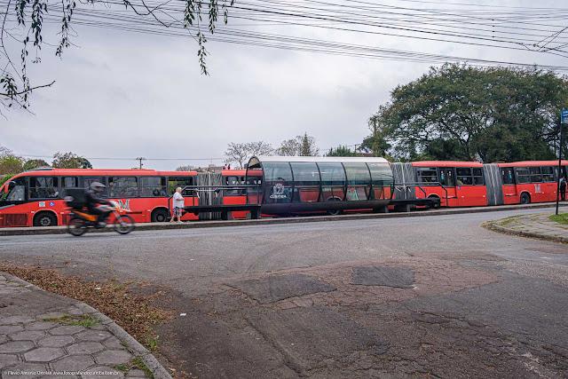 Dois ônibus biarticulados em estação tubo