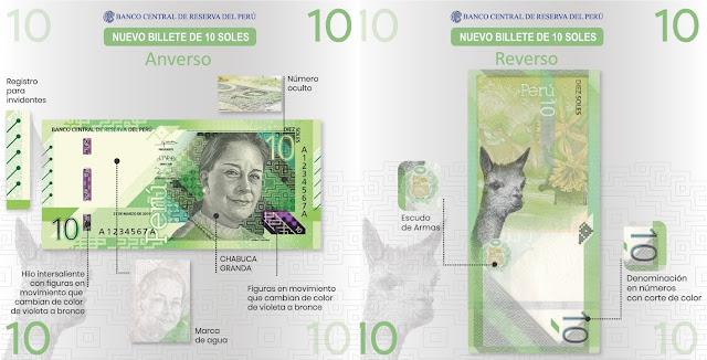 Medidas de seguridad de nuevos billetes de S/ 10