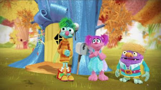 Abby Cadabby, Blögg, Gonnigan, Mrs. Sparklenose, Abby's Flying Fairy School Henking Day, Sesame Street Episode 4324 Trashgiving Day season 43