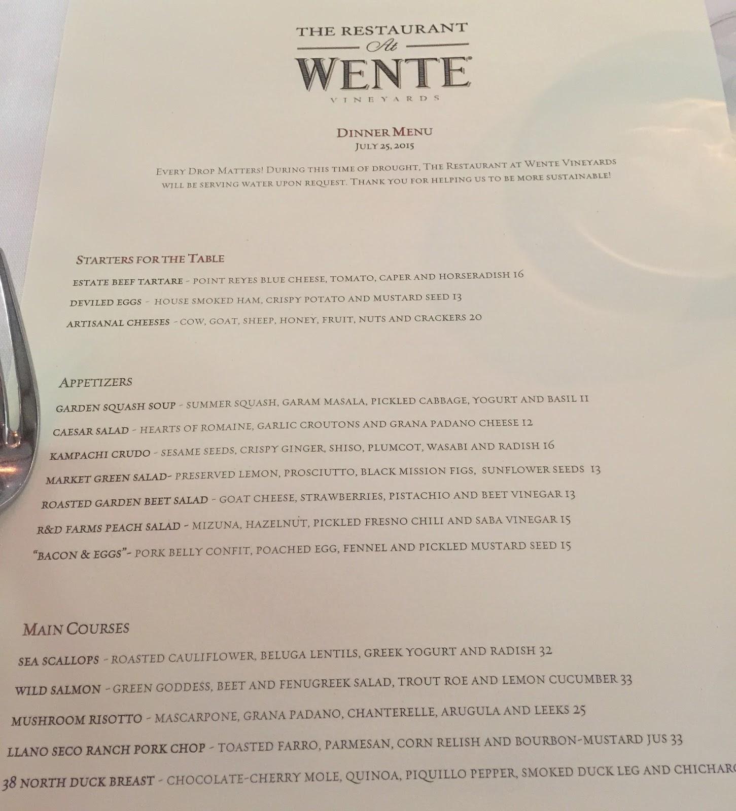 Wente Winery Restaurant Menu