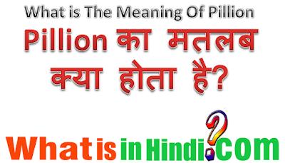 Pillion का मतलब क्या होता है