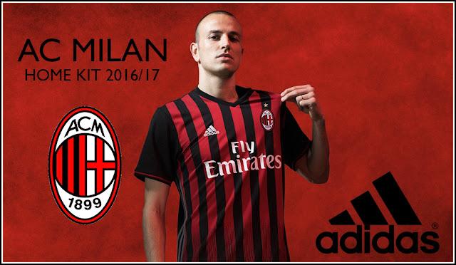 AC Milan 2016-17 Jersey Home Warna Merah-Hitam Adidas