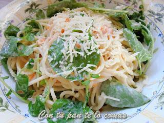 Espaguetis con berros