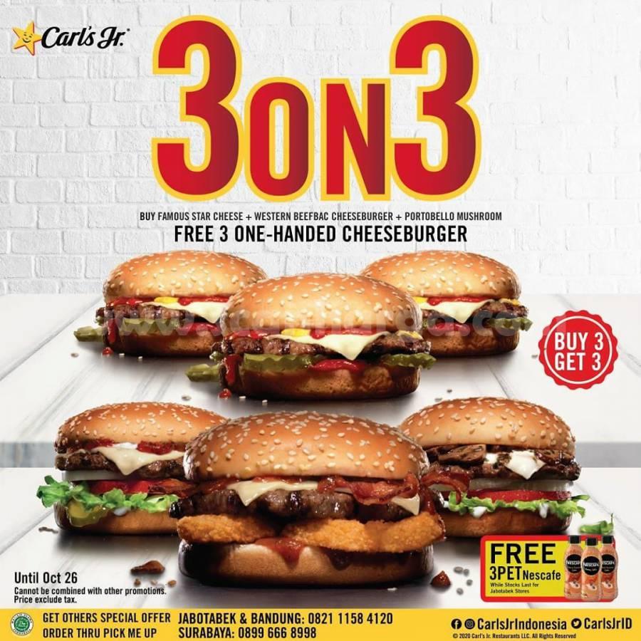 Promo CARL'S JR Buy 3 Get 3 [3on3] + GRATIS 3 Nescafe Latte