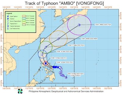 Trayectoria del tifón Vongfong