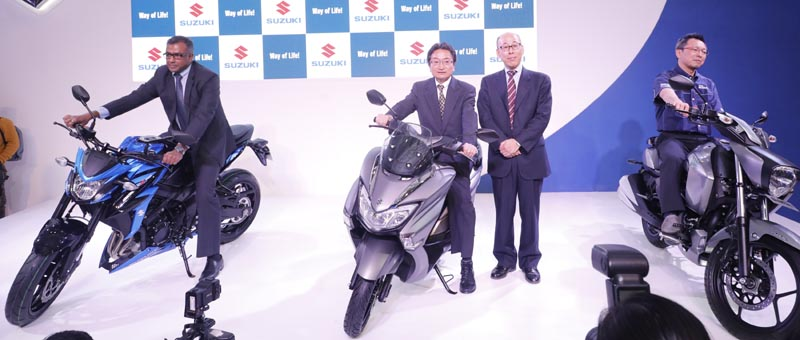 (L - R) Mr. Sajeev Rajasekharan, EVP – Marketing and Sales SMIPL; Masahiro Nishikawa, Executive GM – SMC; Mr. Satoshi Uchida, MD – SMIPL and Mr. Tsoyushi Tanaka, Chief Engineer – SMC unveils Suzuki GSX – S750, Burgman Street Scooter and Intruder FI