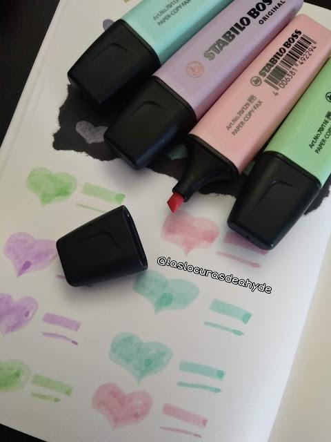 swatches marcadores pastel, rosa, azul, verda y morado de Stabilo