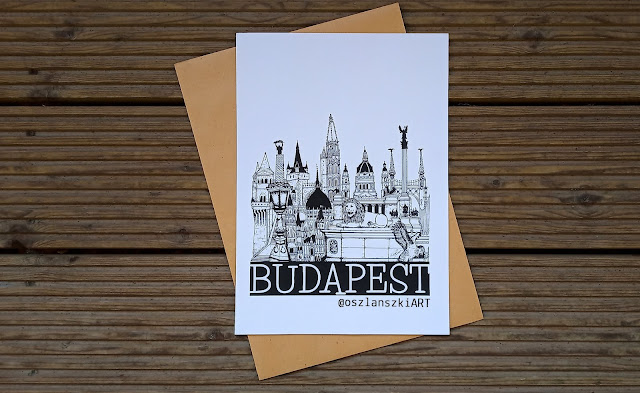City Sketch Budapest, Wall art, wall decor, Black and White Art Print