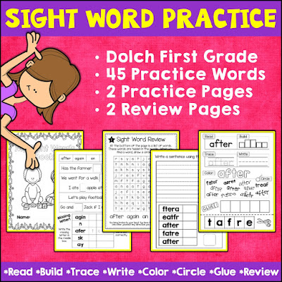 Cover Image of Dolch First Grade Sight Words Practice and Review Worksheet Pack