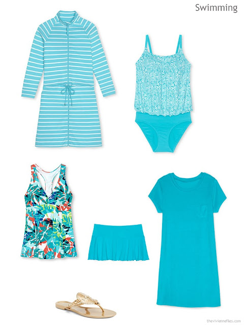 A swimwear wardrobe cluster in aqua and white