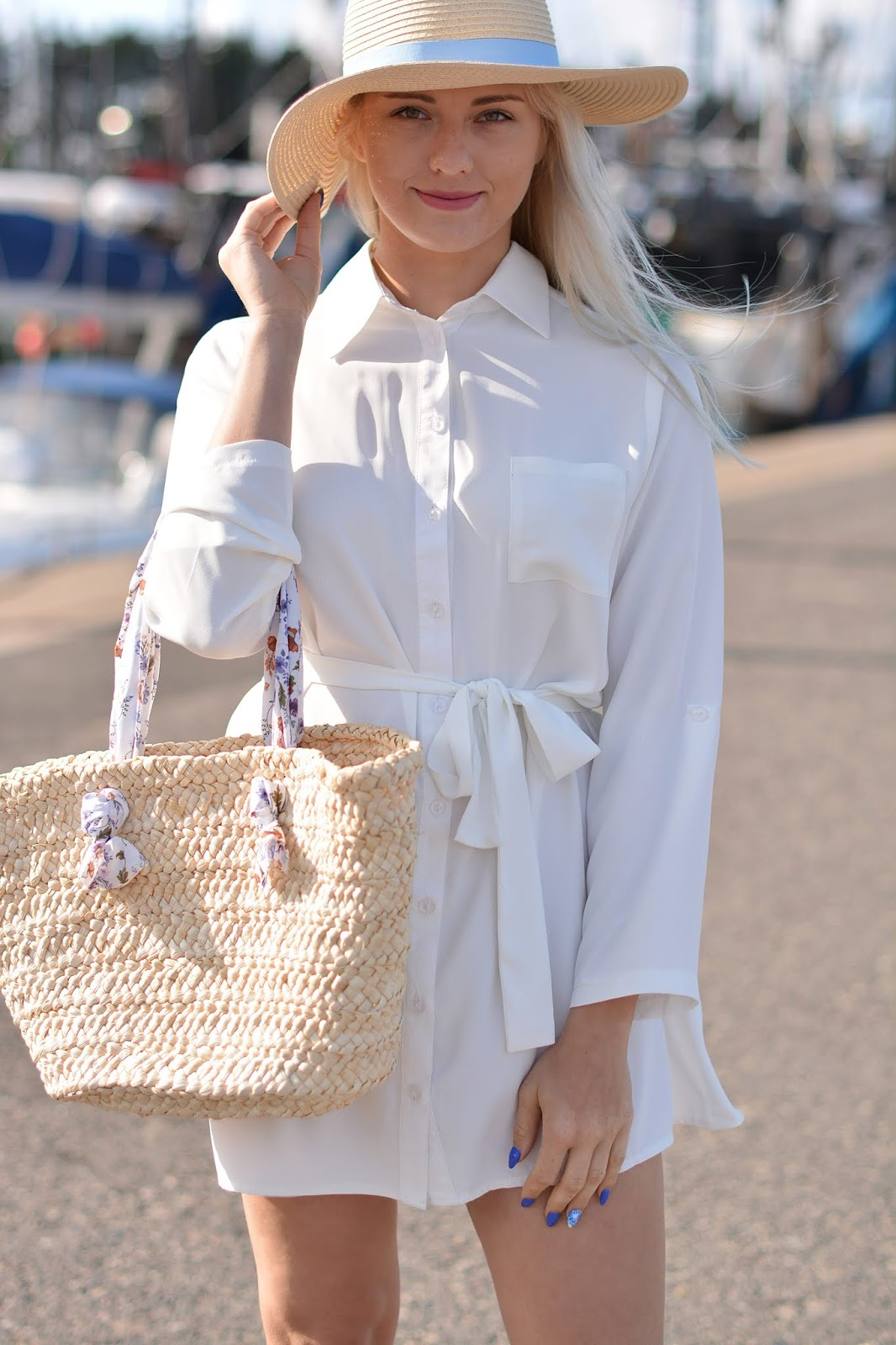White Rolled Sleeves Shirt Dress