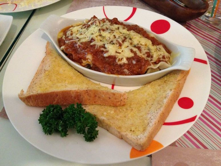 Baked lasagna at Tea Tree Café