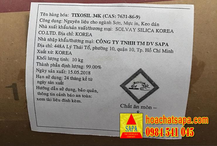TIXOSIL 34K - chất làm mờ cho sơn hệ dầu
