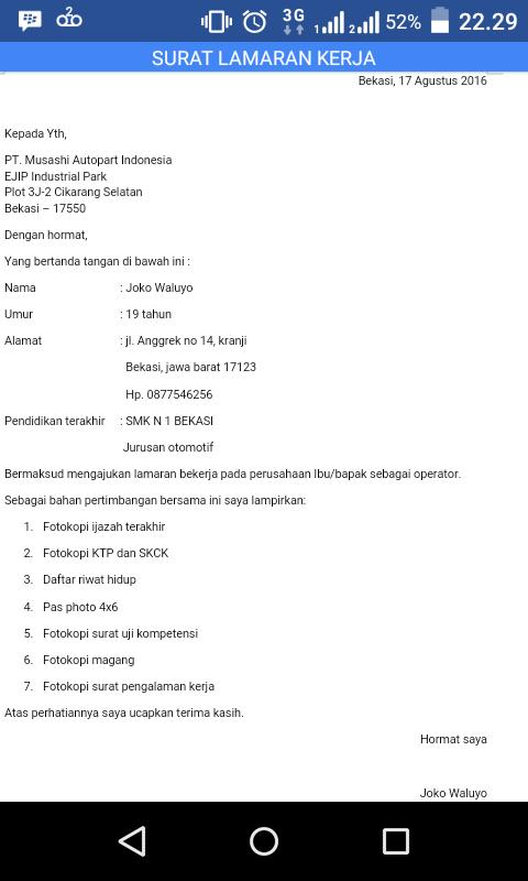 Contoh Surat Contoh Surat Lamaran Kerja Pt Yamaha Motor Pulogadung