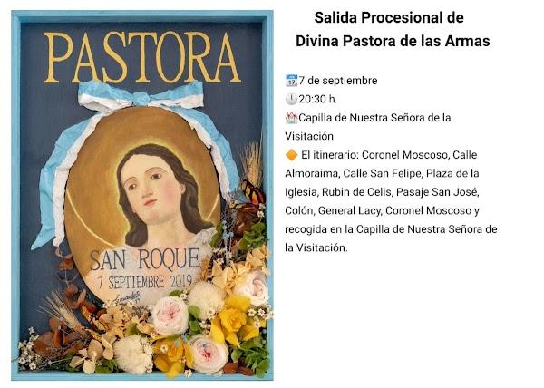 Horario e Itinerario Salida Procesional de la Divina Pastora de las Almas de San Roque