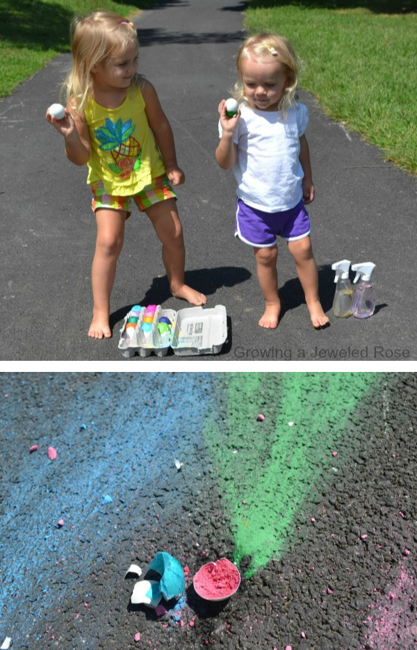 WOW the kids this summer and make chalk bombs!  This DIY sidewalk chalk activity could not be more fun. #chalkart #chalkpaint #chalkboms #smokeart #smokeboms #smokebomsdiy #sidewalkchalkart #sidewalkchalk #sidewalkchalkartideas #sidewalkchalkpaint #activitiesforkids #growingajeweledrose