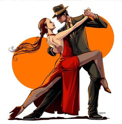 Ilustración con vectores bailando tango